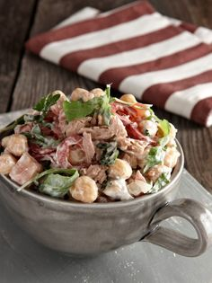 Chickpeas salad with arugula and tuna - www. Cooking Art, Greek Cooking, Greek Recipes, Quick Recipes, Healthy Recipes, Healthy Cooking, Healthy Eating, Legumes Recipe, Greek Dishes