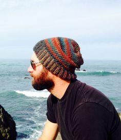 Crochet Mens Hat, Beanie, Slouchy Hat, Snowboard, Ski Hat sur Etsy, $22.60 CAD