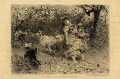 Francesco Paolo Michetti  (Tocco da Casauria, 1851 - Francavilla al mare, 1929) : Jeunes bergeres des environs de Chieti (Italie).  - Asta Stampe e Disegni XVI-XX secolo, Dipinti dell