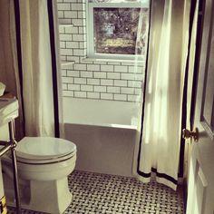 Black & White + Woven Flooring + Window In Shower + Double Shower Curtains + Via Naomi of Design Manifest