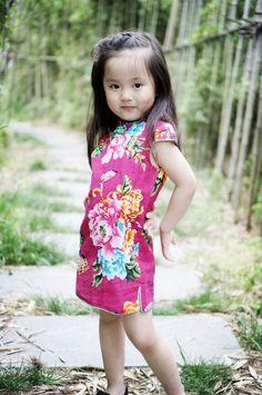 9f816f96872f CS024 Girls Pink Butterflies and Peonies Traditional Cheongsam Qipao Pink  Butterfly, Butterflies, Asian Kids