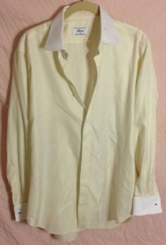 Contrast Collar BRIONI French Cuff Dress Shirt LIGHT YELLOW Button Front EUC