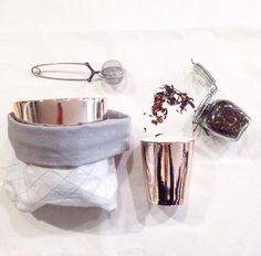 Rose gold fine bone china tea tumblers www.breadandbutterletter.co.nz Ceramic Design, Bone China, Tumblers, Napkin Rings, Rose Gold, Ceramics, Tea, Decor, Ceramica