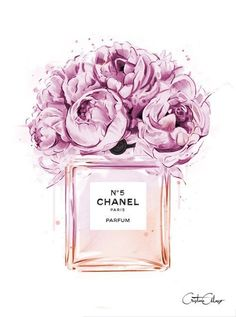 Chanel perfume illustration with peonies. Print out and plac .- Chanel perfume illustration with peonies. Print out and place in frame for decor… Chanel perfume illustration with peonies. Visit our shop if it does not have to be Chanel …. Perfume Chanel, Fashion Illustration Chanel, Illustration Mode, Fashion Illustrations, Design Illustrations, Makeup Illustration, Illustration Artists, Watercolor Illustration, Digital Illustration