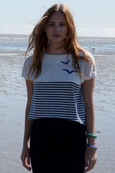 Blue Stripe Seagull Tee | Lowie