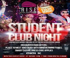 Gigi K Student night at Rise Nightclub, 1 Leicester square, London, WC2H 7NA, United Kingdom on June 23 at 8:00 pm - 3:00 am, Price: standard: £8:00, Student Club Nights  Starting Every Monday 23rd June 2014 At The Rise Club In Central London, Category : Nightlife.