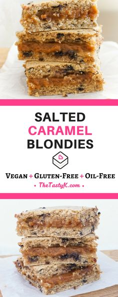 vegan recipes | gluten free -- These delicious Salted Caramel Almond Blondies are every caramel lover's dream! The caramel is completely natural, without any added sugars and purely sweetened by ooey-gooey dates! That's why these salted caramel almond blondies are also much more healthy and wholesome than most traditional recipes. Plus they're completely oil-free and can be made gluten-free, how great is that? -- Via thetastyk.com #thetastyk, #vegan, #glutenfree, #caramel