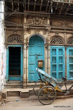 Original installation and use of north Indian blue painted doors ! Imports such as these found at Design MIX Furniture on La Brea,india ~ Goa India, Delhi India, Indian Doors, India Architecture, Indian Blue, Amazing India, India Travel, Monuments, Old Houses