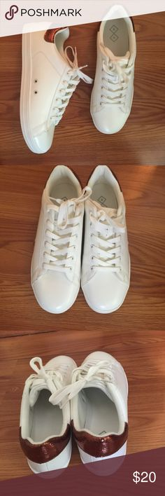 Off-white and bronze sneakers Brand new and never worn. Cute fashion sneaker from Target. Box, but no lid included. Shoes Sneakers