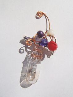 steampunk brooch copper light bulb jewelry by LaSoffittaDiSte