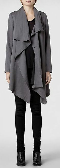 Hoxton Monument Coat, draped front jacket