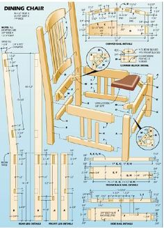 Woodworking plan for dining chair. Complete woodworking plans with detail descriptions can be found on my website: www.tedswoodworkplans.com