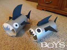 Shark Valentine Boxes- I'm thinking these look pretty easy to make for a shark day....just buy silver/gray party cups.
