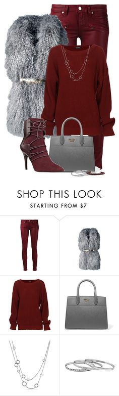 """Red and Grey"" by tinayar ❤ liked on Polyvore featuring Paige Denim, Lilou, Prada, Nine West, David Yurman and Bottega Veneta"