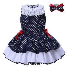 a46c393c4 Pettigirl vestidos de bebé para Niñas Ropa de verano azul marino puntos con  vestido de princesa para niños G-DMGD004-B25