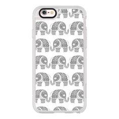 Vintage black and white hand painted  floral mandala elephant - iPhone... ($40)…