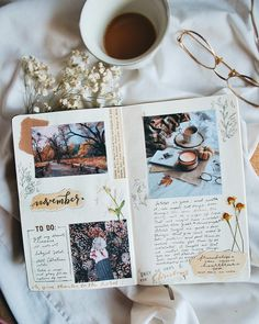 It's November already and I can't believe that we are only days away from Christmas. (con su permiso ire a escuchar canciones de Navidad) Bullet Journal Books, Bullet Journal Inspo, Bullet Journal Ideas Pages, My Journal, Journal Pages, Bullet Journal Aesthetic, Creative Journal, Scrapbook Journal, Art Journal Inspiration