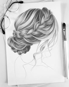 "Happy New Year eyeryone ? Lazy Hairstyles "" My first drawing in 2019 ? Happy New Year eyeryone ? Girl Drawing Sketches, Cool Art Drawings, Pencil Art Drawings, Amazing Drawings, Realistic Hair Drawing, Art Du Croquis, Hair Sketch, Hair Style Sketches, How To Draw Hair"
