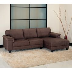 Might be too dark but a ton of people like/bought this one...- This Capri sectional sofa is made with beautiful dark brown microfiber and a durable hardwood frame. The attached chaise is great for company or just lounging.http://www.overstock.com/Home-Garden/Capri-Dark-Brown-Microsuede-Sectional-Sofa/4737061/product.html?CID=214117 $871.99