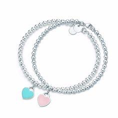 Hot Sale $6.79, Buy Heart Shaped Bracelet & Bangle Stainless Steel Blue & Pink Pendant Charm Brand Tiff Design For Women Elegant Fine Jewelry Gifts