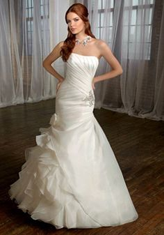 organza mermaid strapless with applique and ruffles floor-length wedding dress
