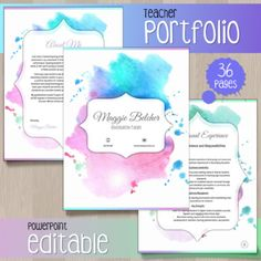 Teacher Portfolio - Editable Template (Watercolor) by Cheeky Cherubs Reading Resources, Reading Skills, Math Resources, Second Grade Freebies, David Shannon, Teacher Portfolio, Kindergarten Freebies, Teacher Resume Template, Mo Willems