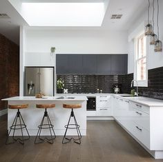 First home reveal on for such a a deserving couple! White Apartment, Apartment Kitchen, Home Decor Kitchen, Kitchen Interior, Industrial Kitchen Design, Modern Industrial, Open Plan Kitchen, New Kitchen, Kitchen Living