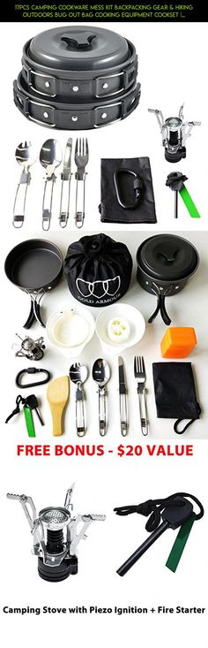 17Pcs Camping Cookware Mess Kit Backpacking Gear & Hiking Outdoors Bug Out Bag Cooking Equipment Cookset | Lightweight, Compact, & Durable Pot Pan Bowls (Black) #tech #fpv #camera #cooking #outdoor #plans #parts #kit #technology #drone #racing #shopping #products #gadgets #kit