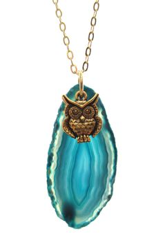 Jami Rodriguez Teal Owl Agate Necklace
