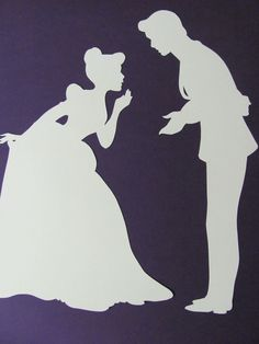Disney inspired Princess Cinderella and Prince Charming silhouette, Paper Art. $13.00, via Etsy.