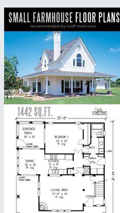Small House Floor Plans, Sims House Plans, Barn House Plans, 3 Bedroom Home Floor Plans, Floor Plans 2 Story, Cottage Floor Plans, Small Farmhouse Plans, Modern Farmhouse, Farmhouse Interior