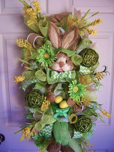 Easter Mesh Wreath,Spring Mesh Wreath,Burlap Easter Wreath,Spring Burlap Wreath,Easter Swag by CherylsCrafts1 on Etsy