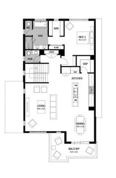 Double story house plans - Upside down house designs - Reverse living house plans - Seabreeze Flat Plan, Double Story House, Upside Down House, Architectural Floor Plans, Granny Flat, Resort Style, Small House Plans, Building Ideas, Beautiful Kitchens