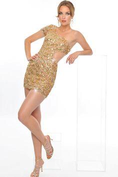 Precious Formals Dress. Gold sequins and glitter!
