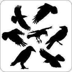 """Die sieben Raben"""" Vögel Aufkleber Wand Tür Tattoo"""