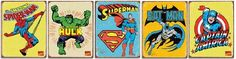 75 BUCKS! Marvel and DC Comics Super Hero Tin Signs Set Spiderman, Batman, Superman, Hulk, and Captain America FREE SHIPPING