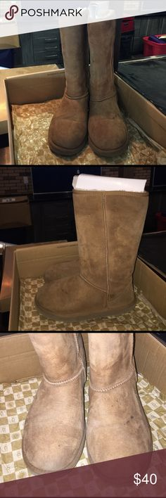 Uggs Chestnut . Worn. Tall. Stains shown UGG Shoes