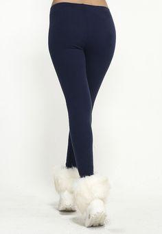 Blending Cotton Solid Navy Leggings