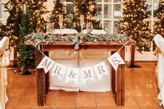 Simple and rustic bride and groom table and wedding banner. Bride Groom Table, Wedding Table Decorations, Wedding Tables, Wedding Reception, Wedding Venues, Rustic Wedding, Wedding Ideas, Wedding Stuff, Simple Weddings