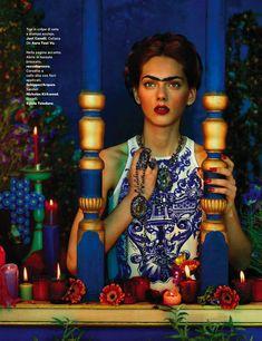 "Agnes Sokolowska as Frida Kahlo in ""Viva La Vida"" by Sandrine Dulermo and Michael Labica for Amica"