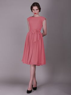 Cap Sleeved Vintage Bridesmaid Dress with Faux Buttons