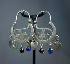 Antique Ethnic Mayan Guatemalan Silver Crescent Moon and Bird Hoop Earrings