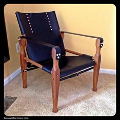 Roorkee Chair: Built in the mid-19th Century Campaign style, this chair is made from Burmese Teak and hand dyed black leather. Deceptively comfortable, it easily breaks down for transport while on safari, or at a local game or tailgating event.