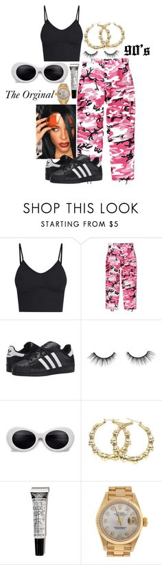"""Aaliyah"" by rihababy on Polyvore featuring Rothco, adidas Originals, tarte and Rolex"