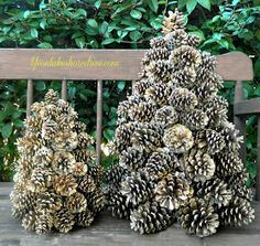 Life on Lakeshore Drive: Winter Pine Cone Trees Christmas Pine Cones, Christmas Porch, Christmas Holidays, Christmas Wreaths, Christmas Decorations, Christmas Ornaments, Pine Cone Crafts, Crafts To Do, Christmas Crafts