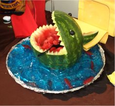 shark watermelon for Nemo birthday party.