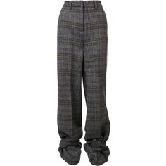 Y/PROJECT (¥114,785) ❤ liked on Polyvore featuring pants, tie pants, checked pants, green high waisted pants, green pants and highwaist pants