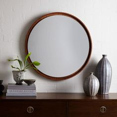 West Elm Floating Round Wood Mirror - Acorn ($249) ❤ liked on Polyvore featuring…