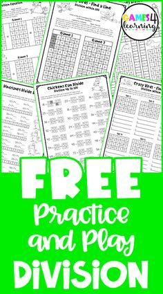 Teaching Division, Division Activities, Division Games, Fun Math Activities, Classroom Freebies, Activity Sheets, Matching Games, Fourth Grade, Worksheets
