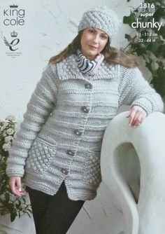 K3816 Ladies Long Sleeve Coat and Hat Super Chunky (Super Bulky) King Cole
